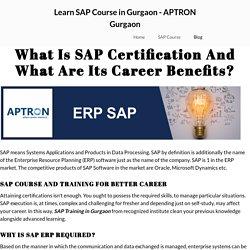 Learn SAP Course in Gurgaon - APTRON Gurgaon
