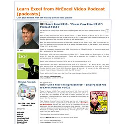 Learn Excel from MrExcel Video Podcasts
