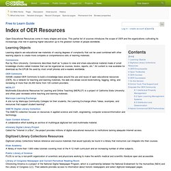 Free to Learn Guide/Index of OER Resources