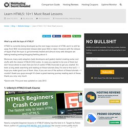 Learn HTML5: 10+1 Must Read Lessons