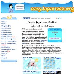 Learn Japanese Online for Free - its fun with easy flash quizes!