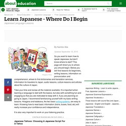 Learn Japanese - Where Do I Begin