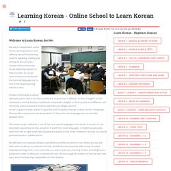 Learn Korean and Speak Korean :- Free Site for Learning Korean Language