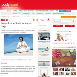 Learn to meditate in seven days