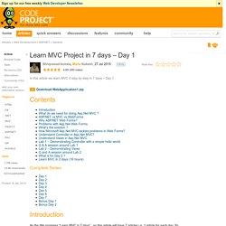 Learn MVC Project in 7 days – Day 1