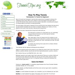 Learn How To Play Tennis, Simplify Your Game