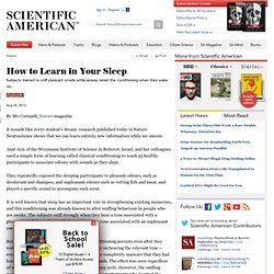 How to Learn in Your Sleep