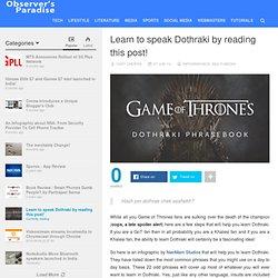 Learn to speak Dothraki by reading this post!