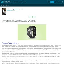 Learn to Build Apps for Apple WatchOS: vernonemrit