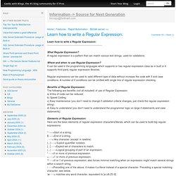 Regular Expressions Quick Start