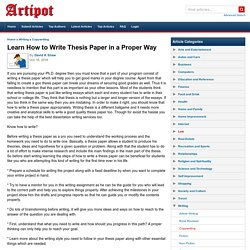 Learn How to Write Thesis Paper in a Proper Way