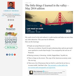 The little things I learned in the valley – May 2014 edition