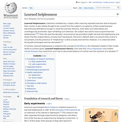 Learned helplessness - Wikipedia
