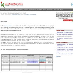 Welcome to LearnExcelMacro.com How to Send Email Automatically from Excel