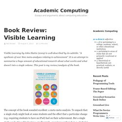 Book Review: Visible Learning