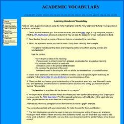 Learning Academic Vocabulary