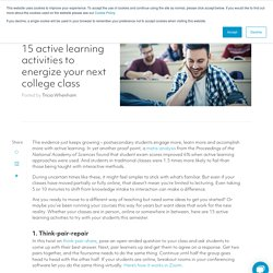 15 active learning activities to energize your next college class