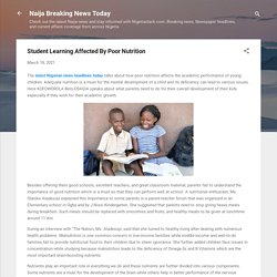 Student Learning Affected By Poor Nutrition