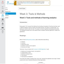 Week 3: Tools & Methods: Learning Analytics and Knowledge