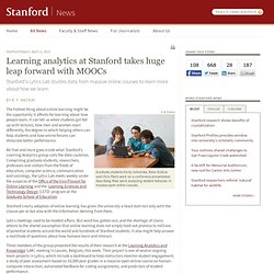 Learning analytics at Stanford takes huge leap forward with MOOCs