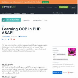 Learning OOP in PHP ASAP!