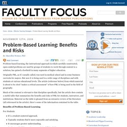 Problem-Based Learning: Benefits and Risks
