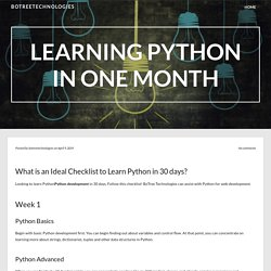 Learning Python In One Month – BoTreeTechnologies