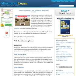 26 Learning Games for Change | Serious Games | Online Learning Games