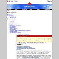 Adult learning in Canada: Characteristics of learners