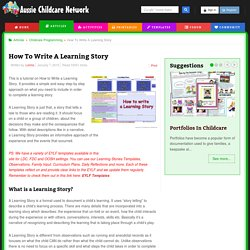 How To Write A Learning Story - Aussie Childcare Network