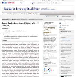 Sound-Symbol Learning in Children with Dyslexia