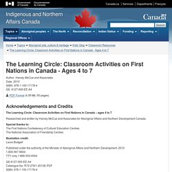 The Learning Circle: Classroom Activities on First Nations in Canada - Ages 4 to 7