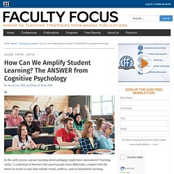 How Can We Amplify Student Learning? The ANSWER from Cognitive Psychology