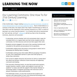 Our Learning Commons: One How To for 21st Century Learning