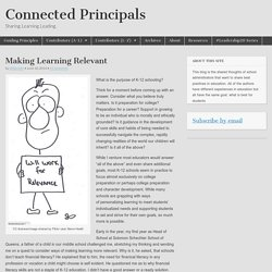 Making Learning Relevant