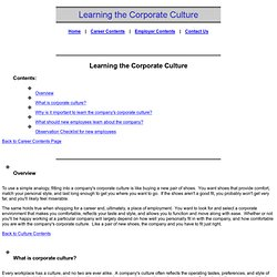 Learning the Corporate Culture