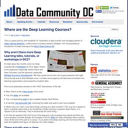 Where are the Deep Learning Courses?