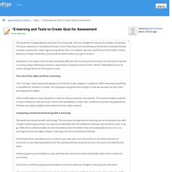 E-learning and Tools to Create Quiz for Assessment