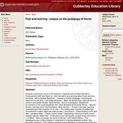 Fear and learning : essays on the pedagogy of horror