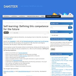 Self-learning: Defining this competence for the future