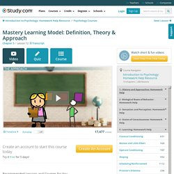 Mastery Learning Model: Definition, Theory & Approach