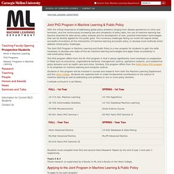 Joint PhD ML/Heinz-Machine Learning Department - Carnegie Mellon University