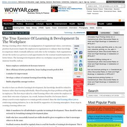 The True Essence of Learning & Development in the Workplace – WowYar