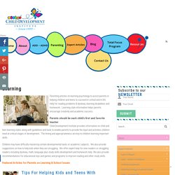 Learning Styles, Learning Disabilities, Reading & Homework Help