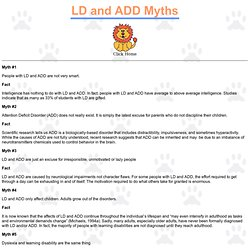 Learning Disability and ADD Myths