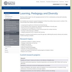 Learning, Pedagogy and Diversity