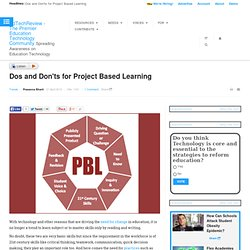 Dos and Don'ts for Project Based Learning