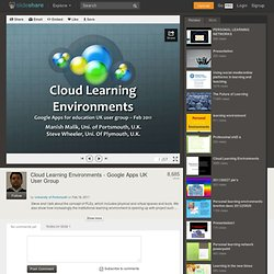 Cloud Learning Environments - Slideshare