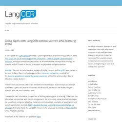 Going Open with LangOER webinar at the I-LINC learning event