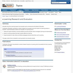 e-Learning Research and Evaluation